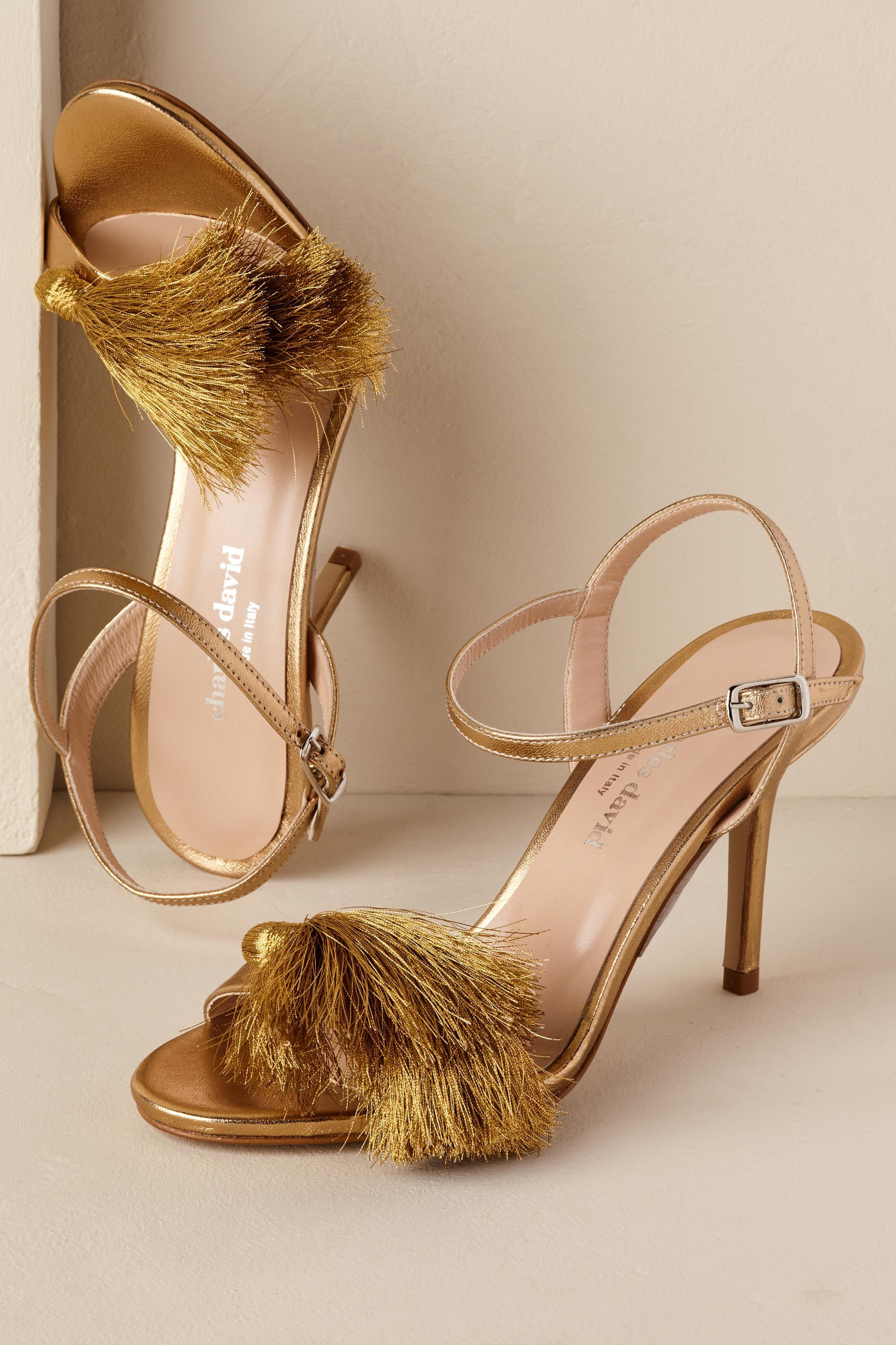 Bhldn S Charles David Gold Fringe Heels In Gold Accessory To