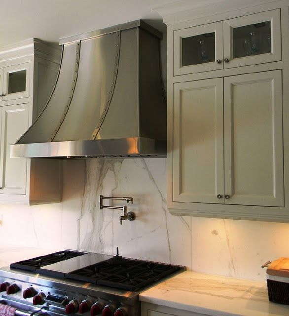 White Kitchen Exhaust Hoods range hood in this shape but wood, white to match the cabinets