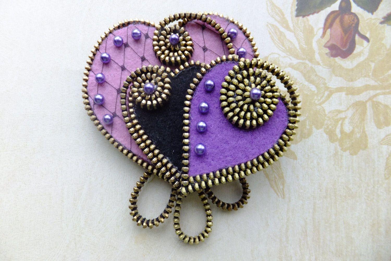 Purple Hearts Felt Zipper Brooch for Coat Jacket Hat. $32.00, via Etsy.