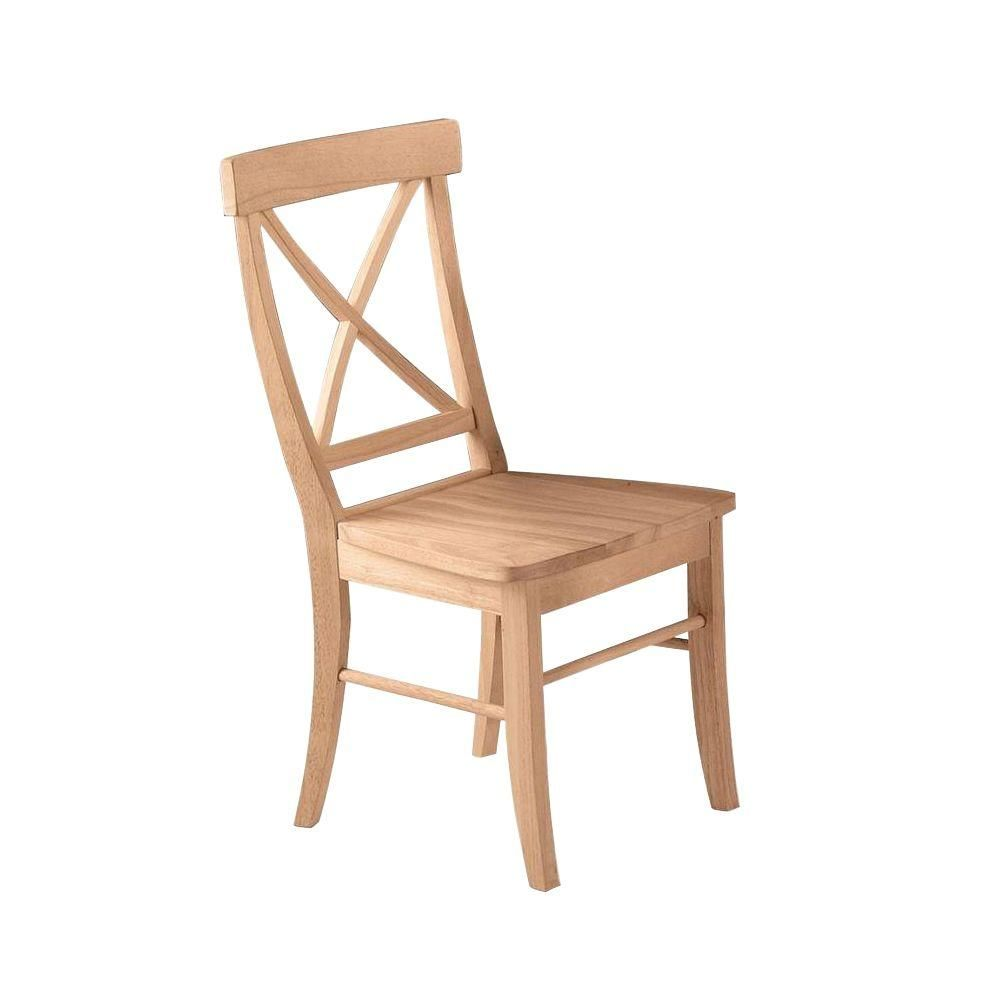 Unfinished Wood X Back Dining Chair Set Of 2