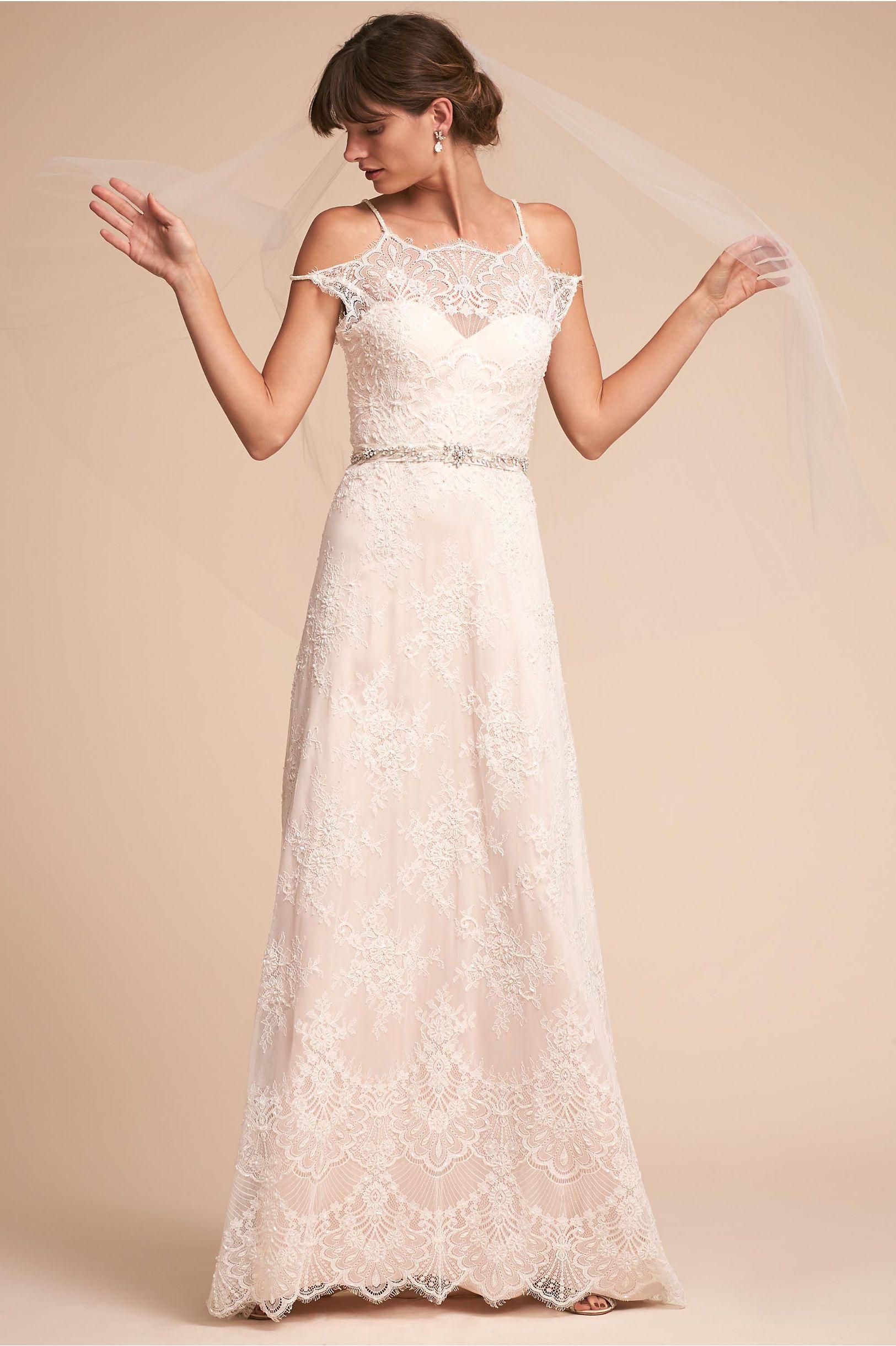 Lace wedding dress champagne  BHLDN Karla Gown Ivory in Bride  BHLDN  Wedding Dress  Pinterest