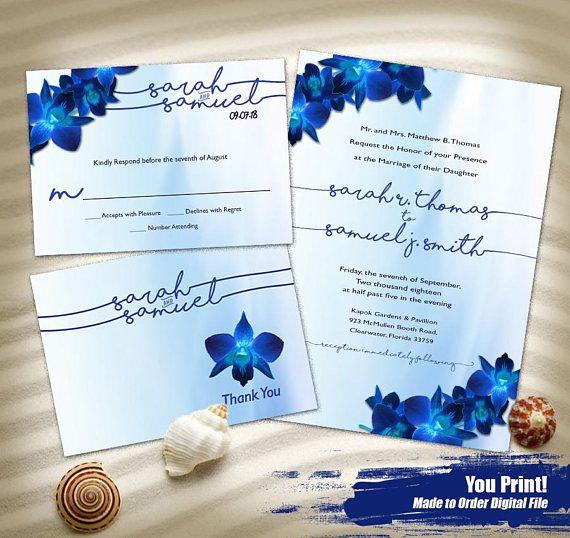 Blue Orchid Watercolor Wedding Invitation Set Printable