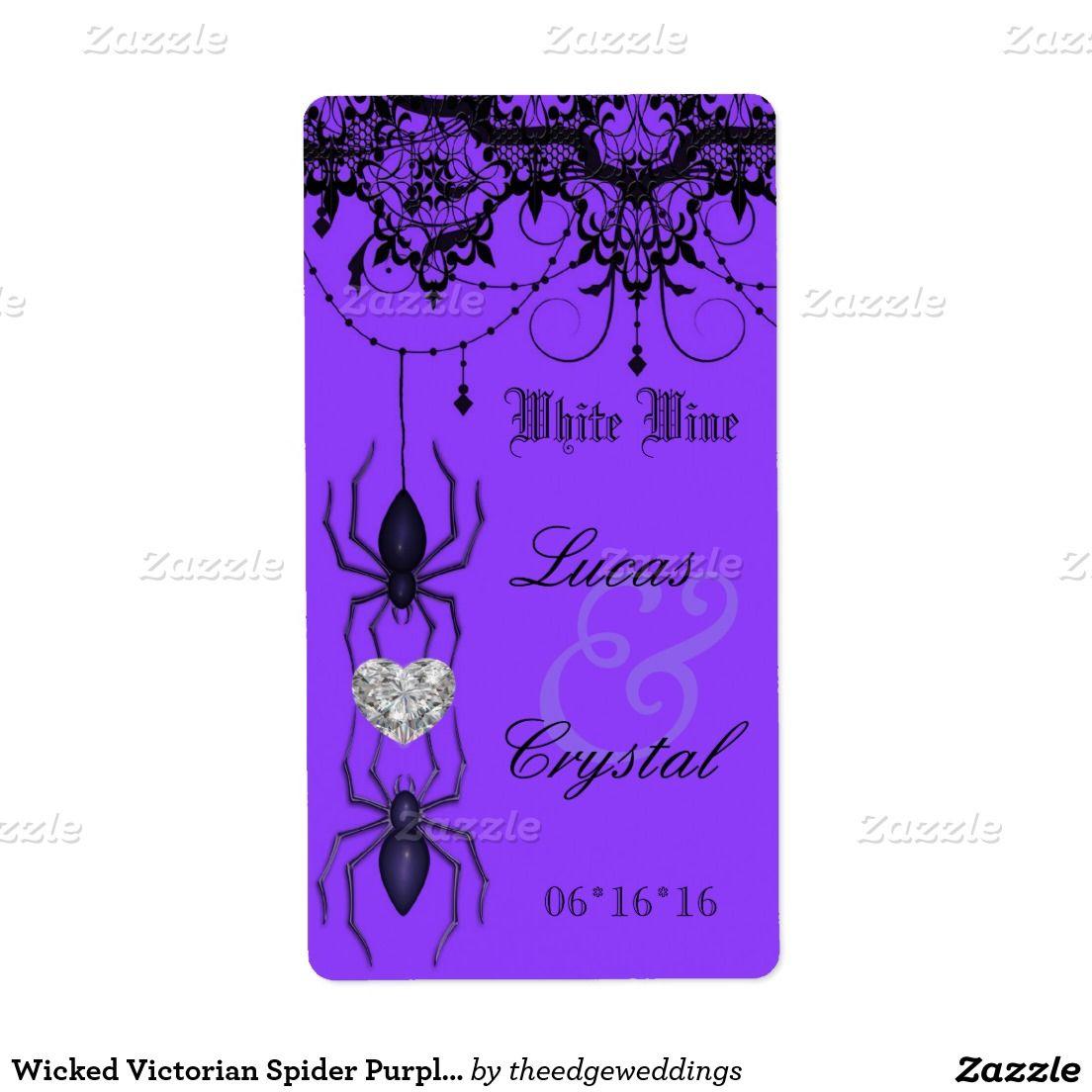 Wicked Victorian Spider Purple Wedding Wine Label   Wedding wine ...