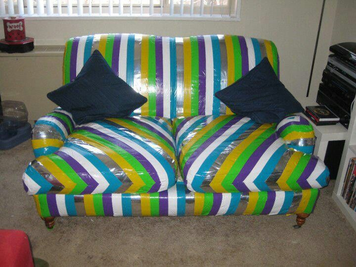 Re Cover Old Upholstery With Duct Tape Diy Duct Tape
