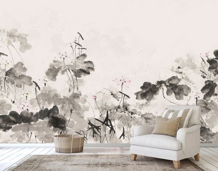 Panneau Japonais Zen Peinture A L Encre En Noir Blanc Gris Et