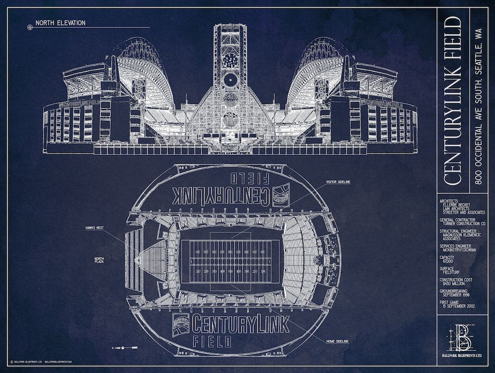 Creating art with stadium blueprints graphic designers wrinkled blue paper malvernweather Image collections