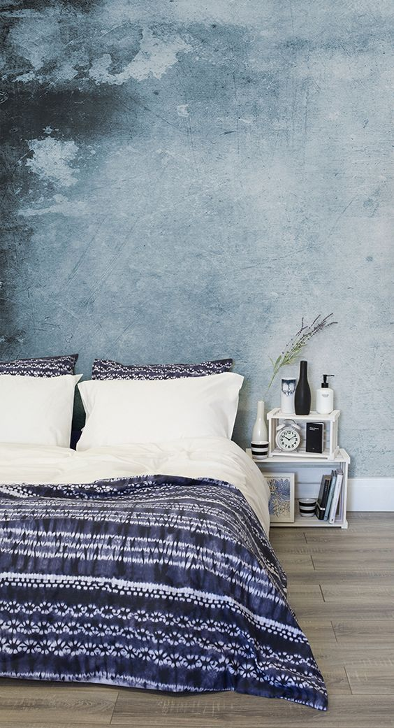 Living Room Feature Wall Decor: Grey Grunge Watercolour Wallpaper Mural In 2019
