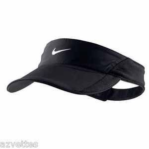 d6af9e45afc Black-White NIKE Women s Tennis Visor DRI-FIT Runner Hat FEATHERLIGHT Cap
