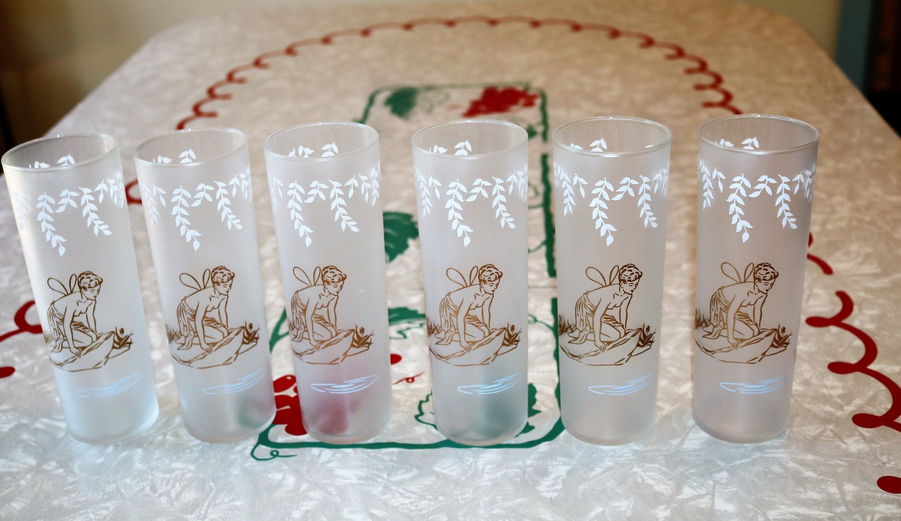Tom Collins Glasses Barware Vintage Set Of Two Frosted White Rock Cocktail Glasses