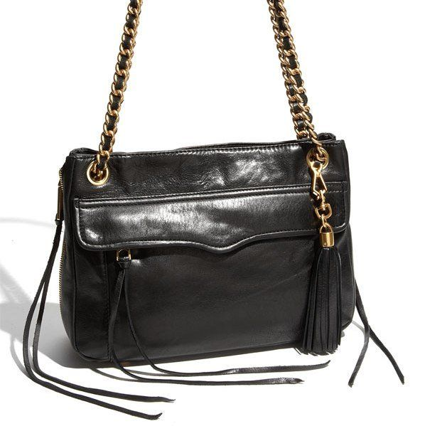 0f0a1d011a21  330 Rebecca Minkoff SWING Double Chain Leather Shoulder Bag in Black NWT