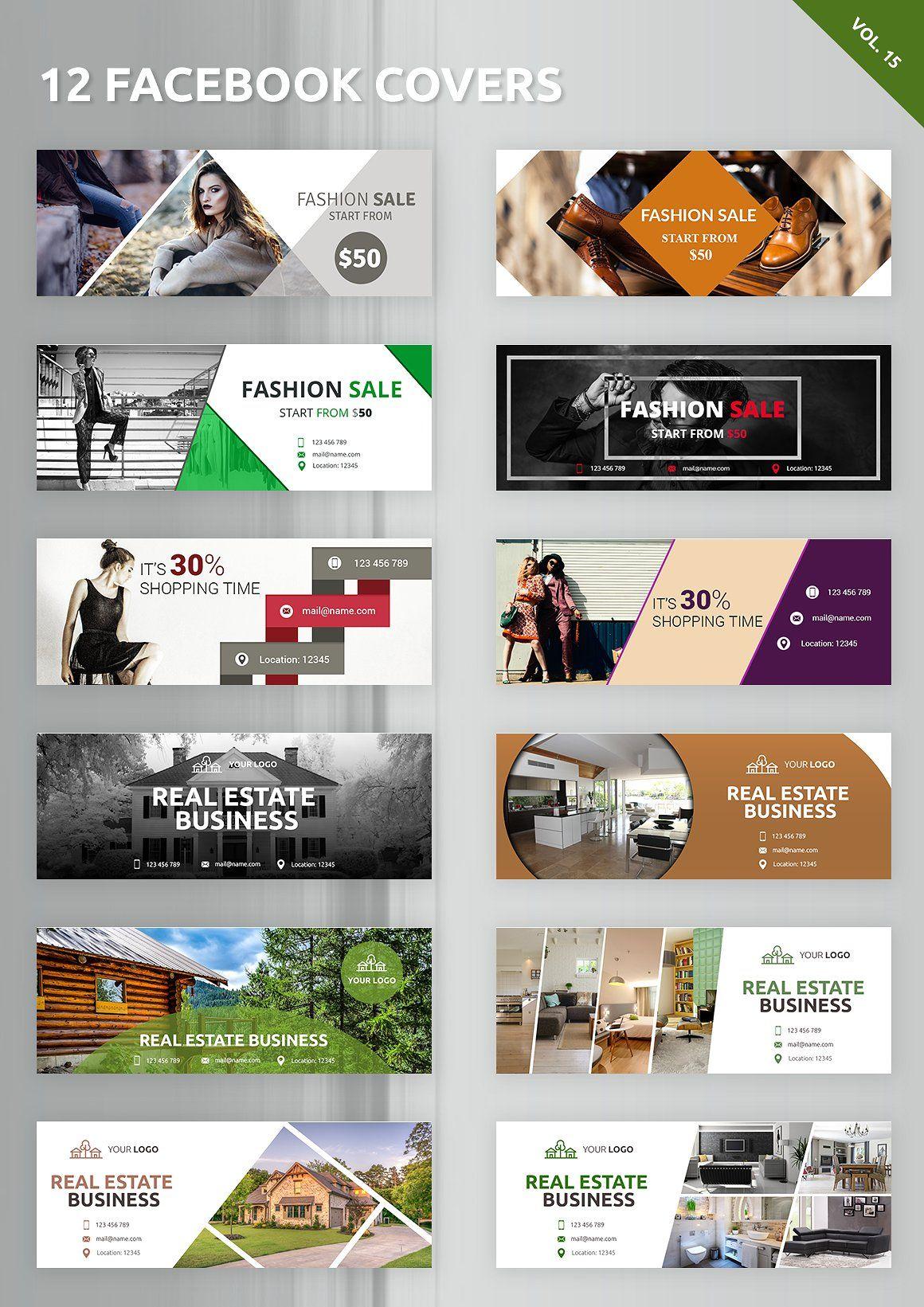 Facebook Covers 12 Templates Facebook Cover Design Facebook Ads Design Banner Design Inspiration