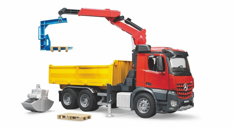 Bruder Mb Arocs Construction Truck With Crane And Accessories Trucks Toy Trucks Truck Cranes