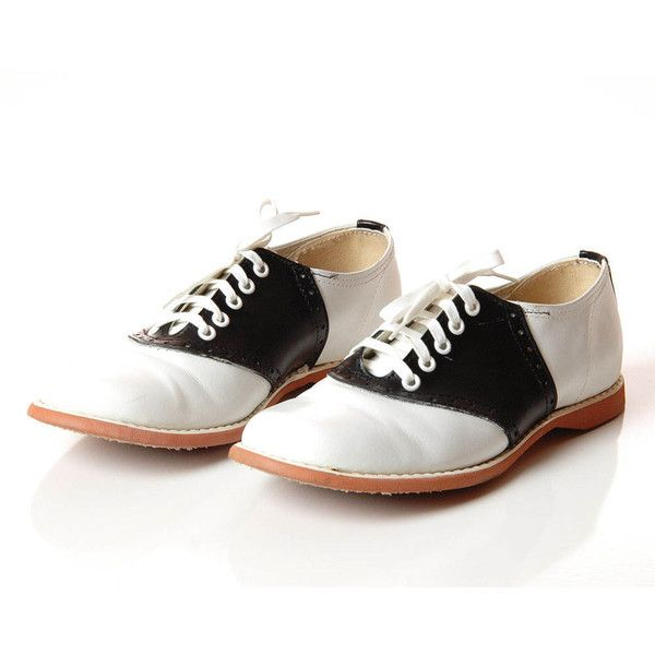 e39ca7f850a4fe 1960s Saddle Shoes Vintage Black White Classic Saddle Oxford Shoes 60s... ❤  liked on Polyvore featuring shoes