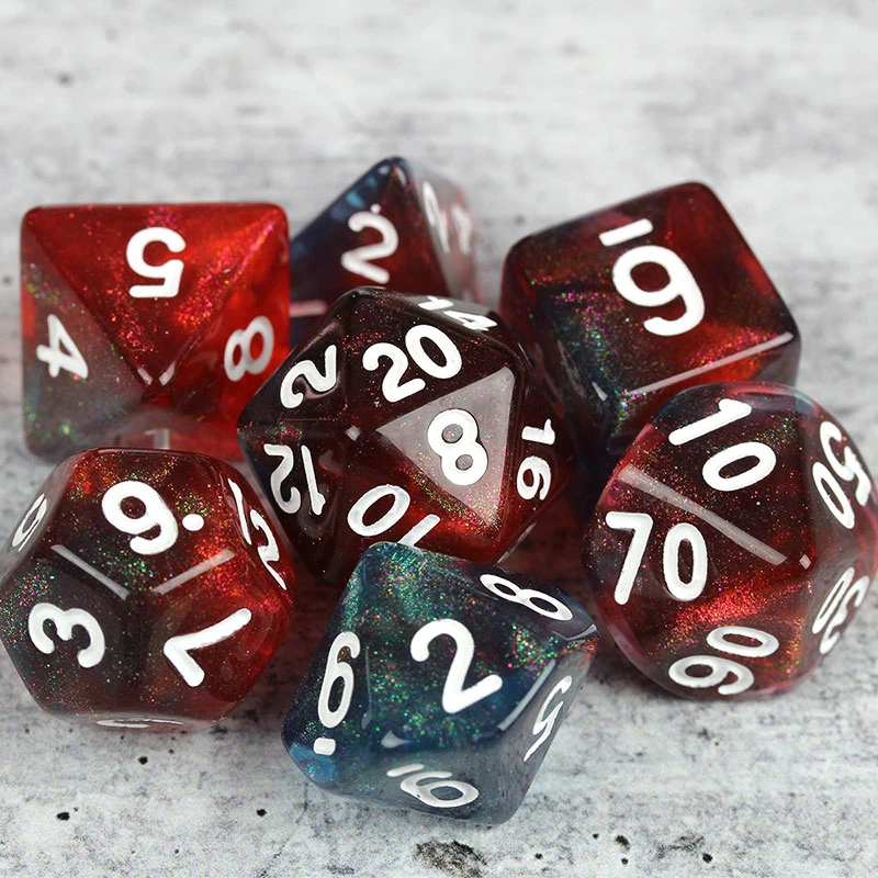 Eternal DnD Dice Set Table Top Role Playing White and Green Metal Sharp Edge Dice Polyhedral dice Dungeons and Dragons D/&D dice