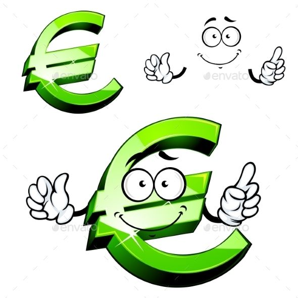 Cartoon Isolated Green Euro Sign Fonts Logos Icons Pinterest