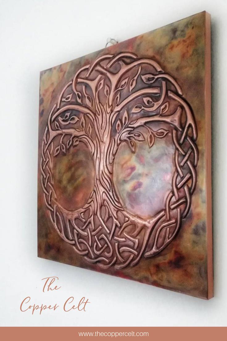 Tree Of Life World Tree Embossed Copper Wall Art Handmade Etsy Celtic Wall Art Copper Wall Art Metal Tree Wall Art