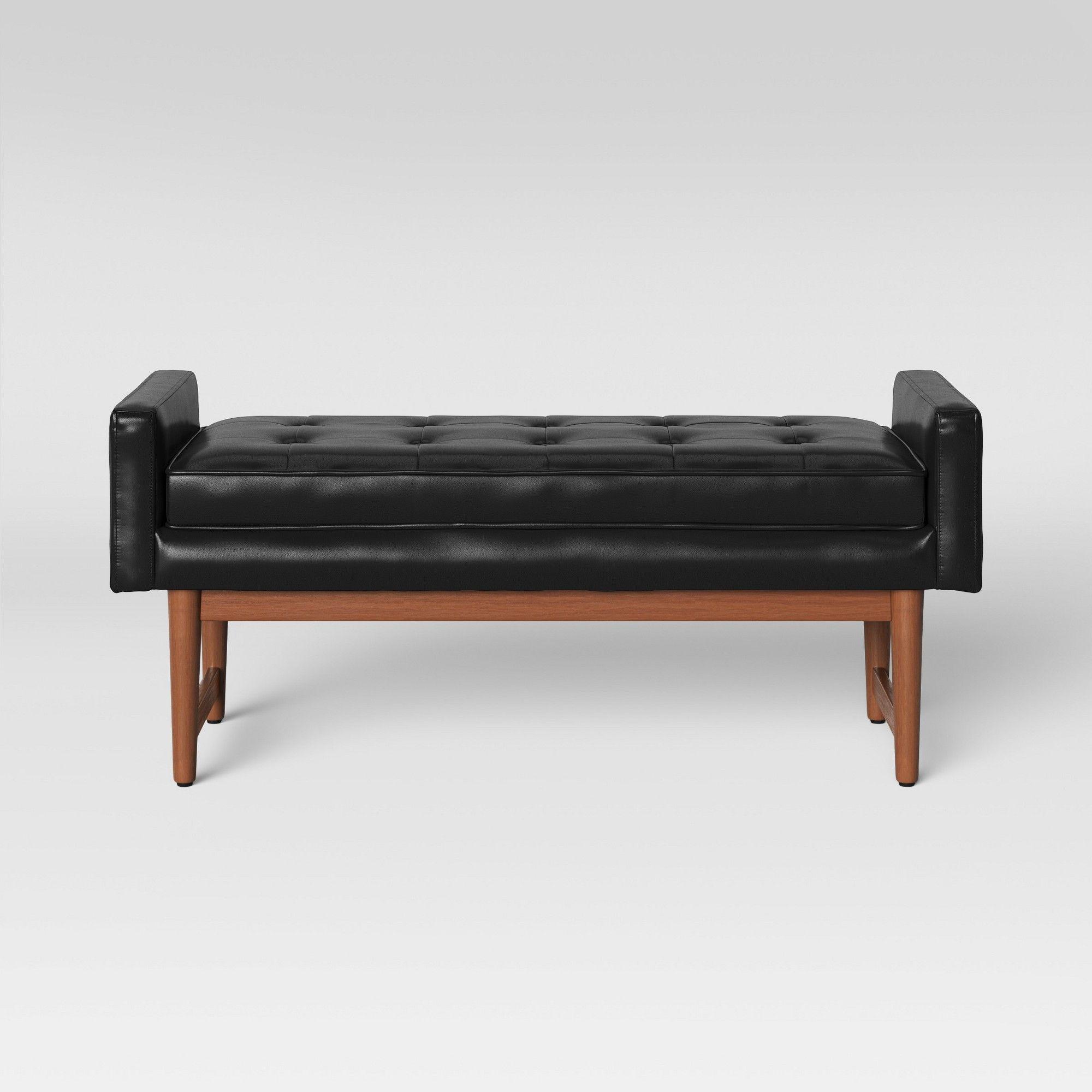 Pleasing Verken Mid Century Modern Faux Leather Bench Black Project Spiritservingveterans Wood Chair Design Ideas Spiritservingveteransorg