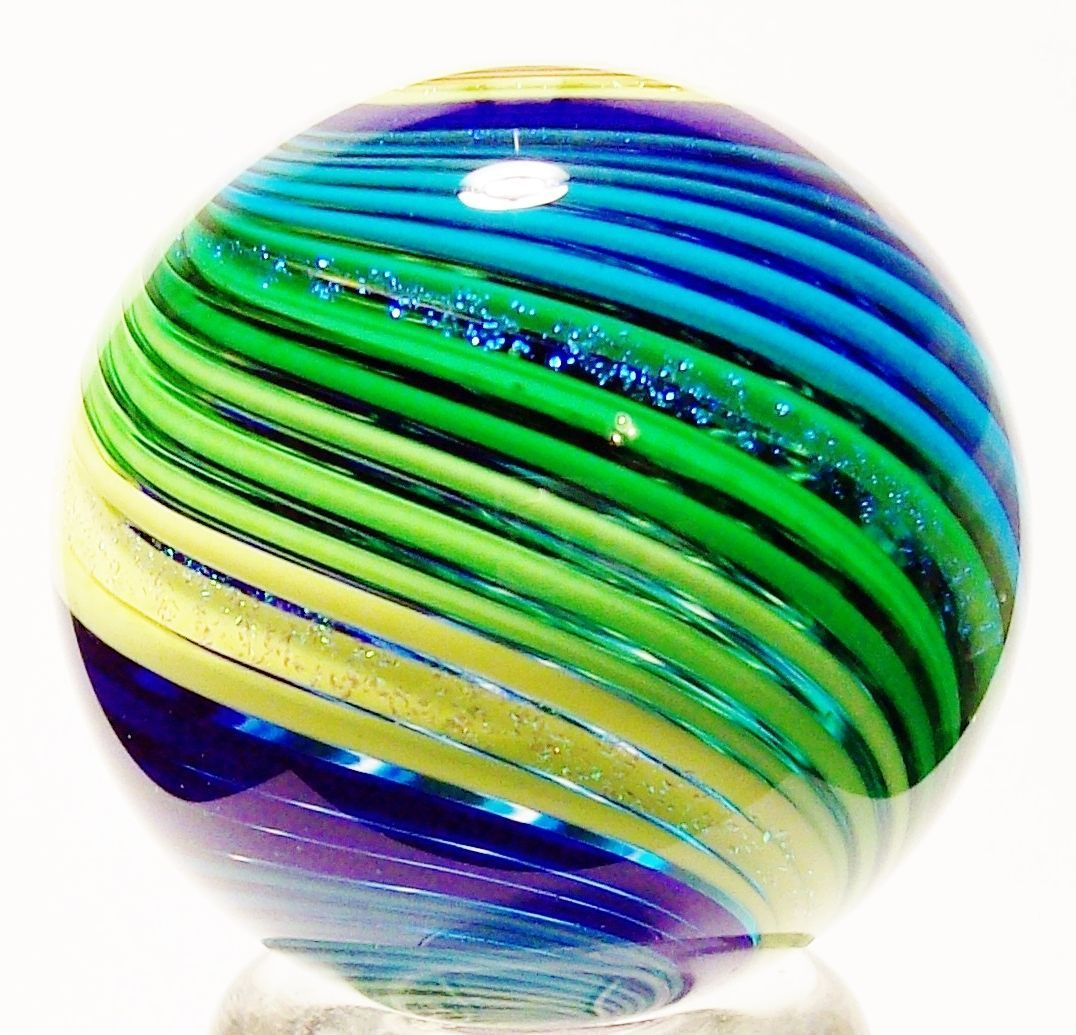 Eddie Seese Art Glass Marbles 1 1 2 Intricate Stripped Dichroic Marble Glasmurmeln Marmorierung Glas