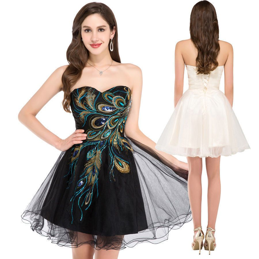 Lady peacock vintage s short swing dress cocktail evening party