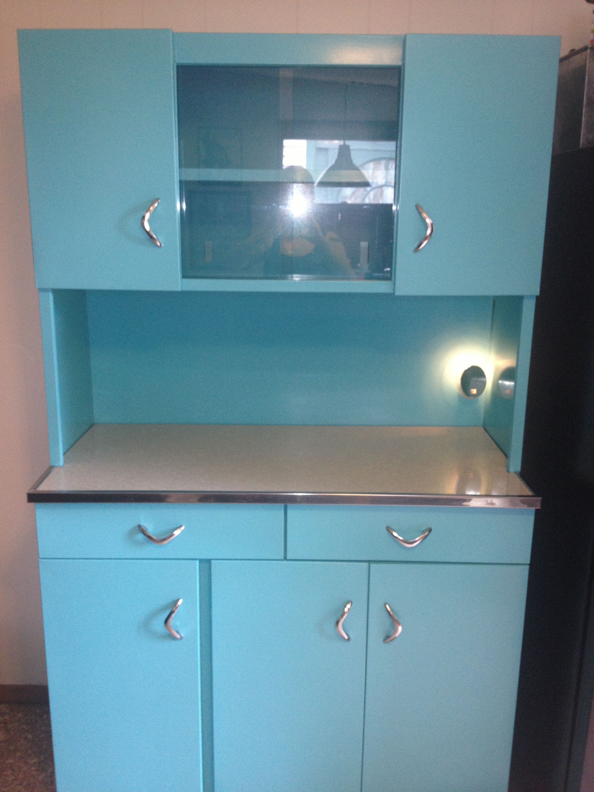 Refinished 1950\'s metal hutch | My Work | Pinterest | Metals ...