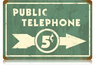 Public Telephone 18 x 12 Vintage Metal Sign | Man Cave Kingdom