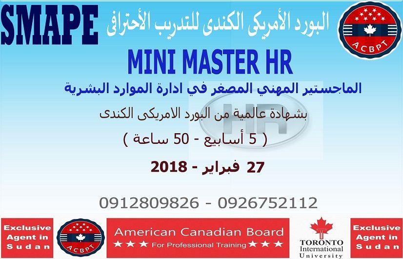 Mini Master Of Hr الماجستير المهني المصغر في ادارة الموارد البشرية Mini Train Sudan