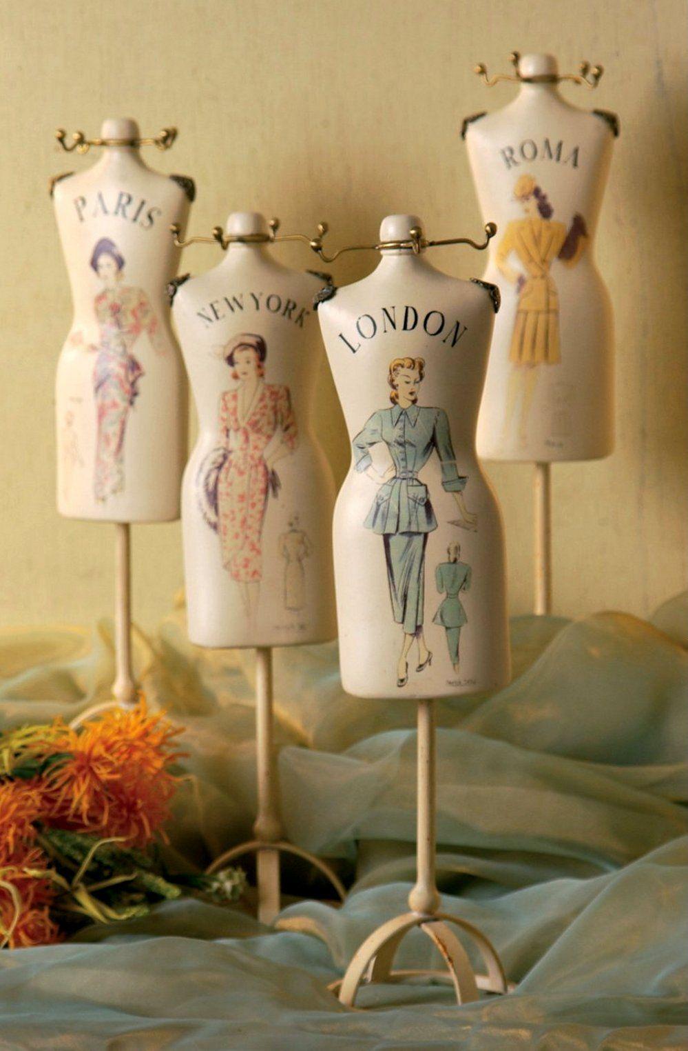 4 assorted dress form figures deco de charme dress form dress form mannequin et dresses. Black Bedroom Furniture Sets. Home Design Ideas
