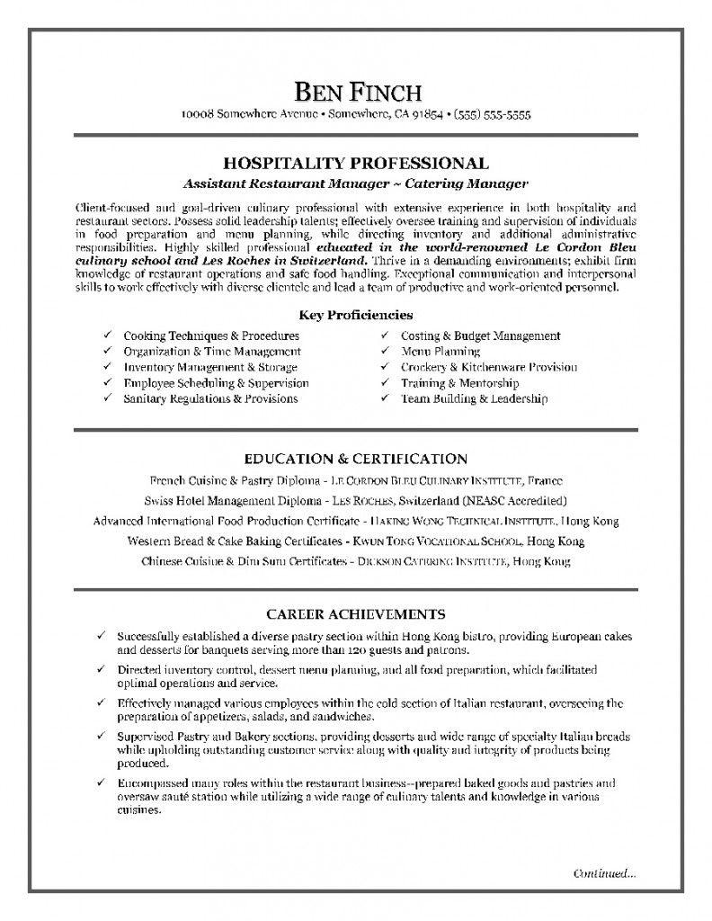 Hospitality Resume Writing Example Resume writing
