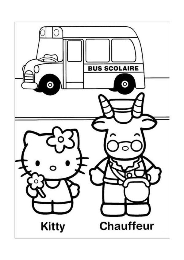 Kleurplaten Autobus.Hello Kitty Kleurplaten Voor Kinderen Kleurplaat En Afdrukken