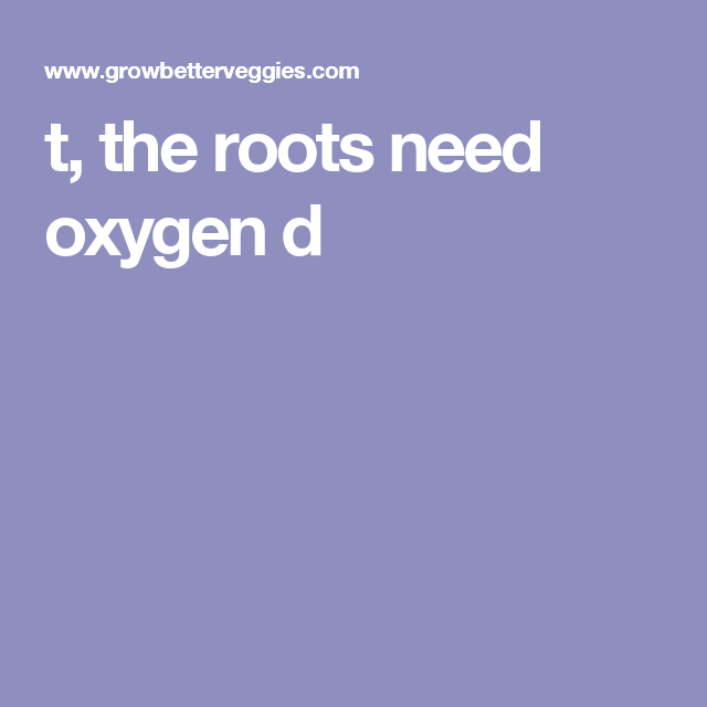 t, the roots need oxygen d