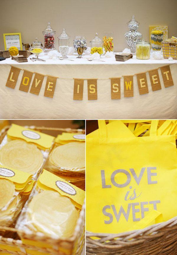 hellgelb und weiss Hochzeit Tischdeko Cup Cakes Candy Bar ...