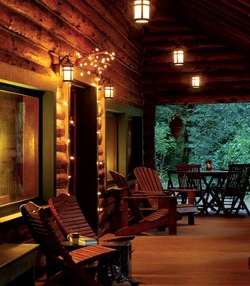 Log Cabin Porch At Night Porches