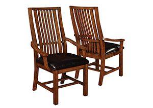 Black & Walnut Arm Chair (Set of 2)