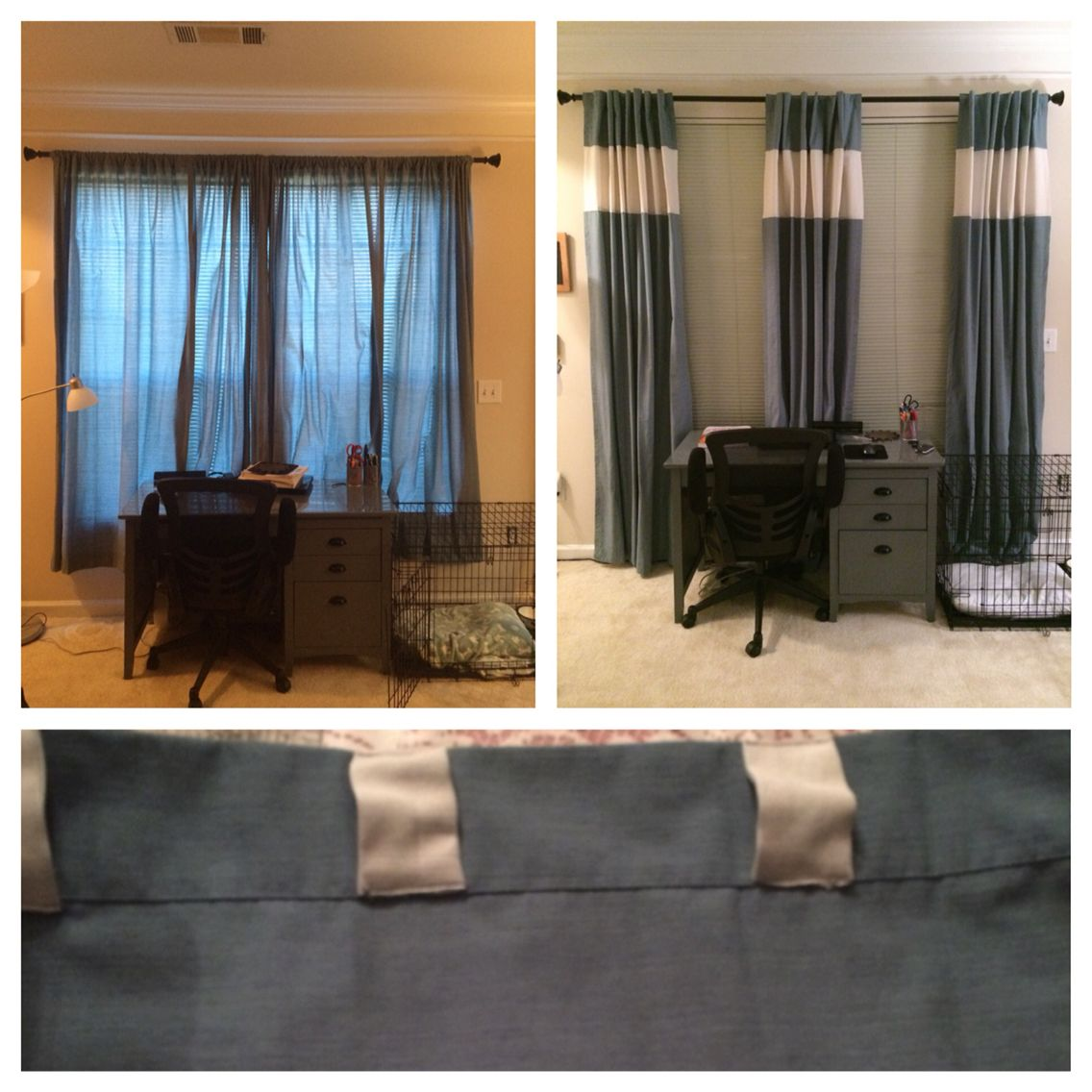 Curtain Redo Curtains Too Short Add An Extra Panel In The To Lengthen Them Added Strips Of Fabric Top Create That Pleat