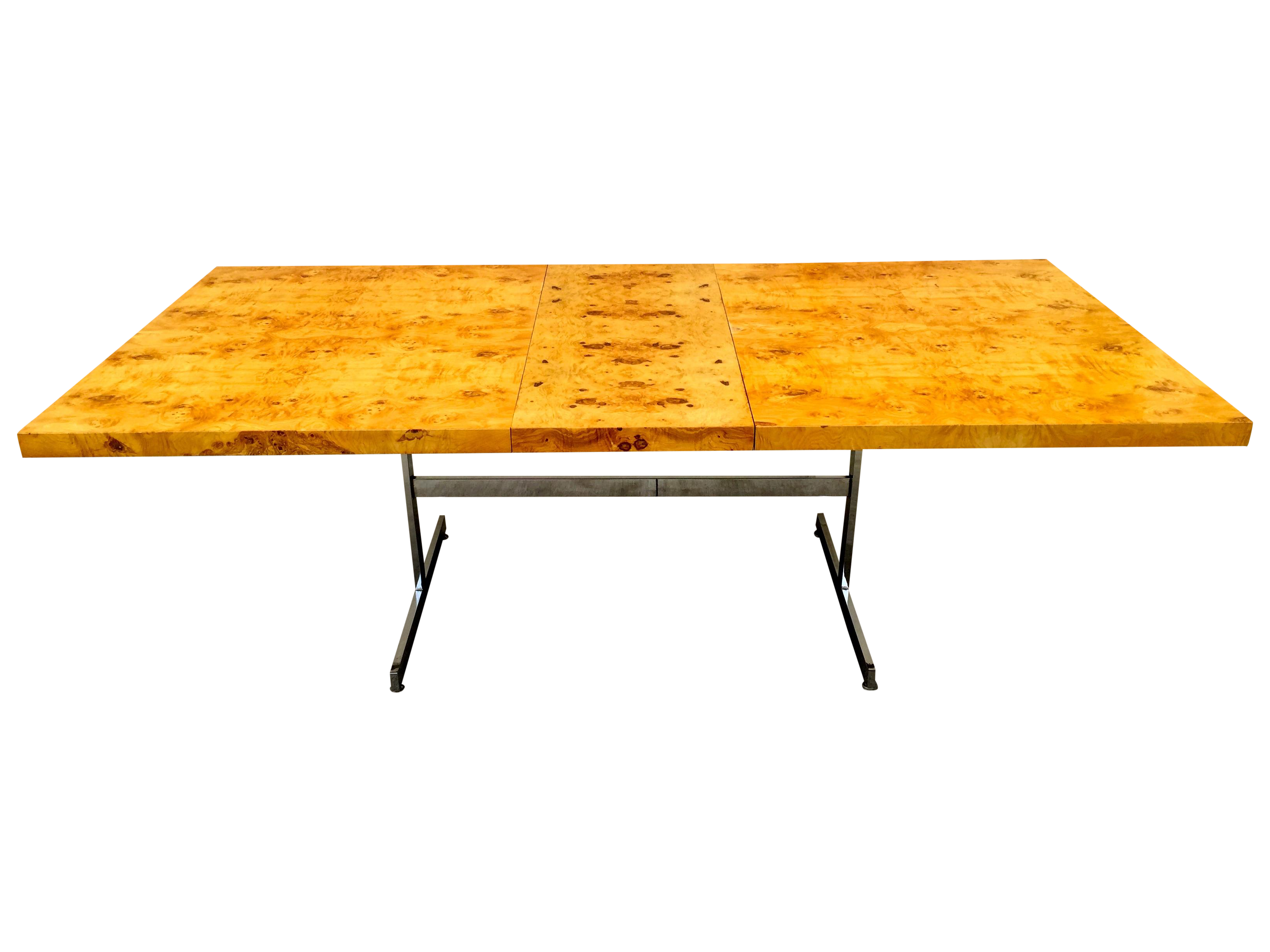 Burl wood u chrome dining table chrome and woods