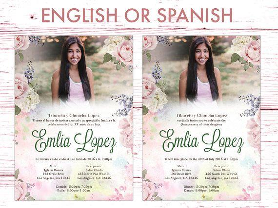 Invitación De Quinceañera Para Imprimir Español O Inglés