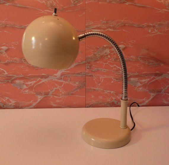 Vintage Mid Century Modern Heyco Cream Round By Thelampemporium Mid Century Modern Desk Lamp Lamp