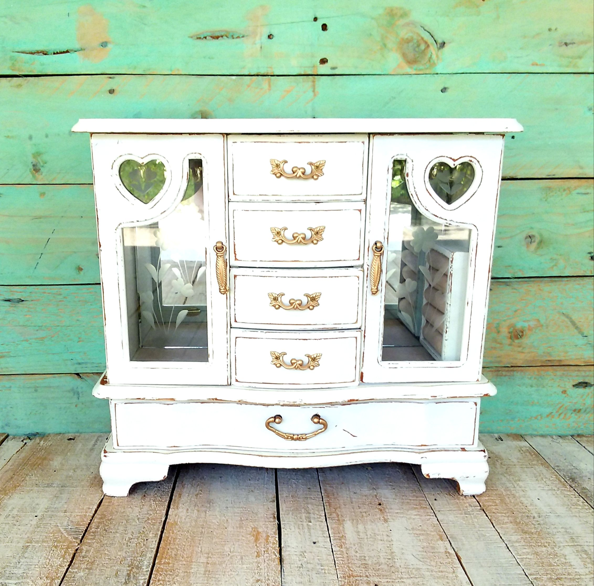 storage refinished jewelry organizer distressed rustic Upcycled mans white dresser caddy  vintage upcycled jewelry box  shabby chic