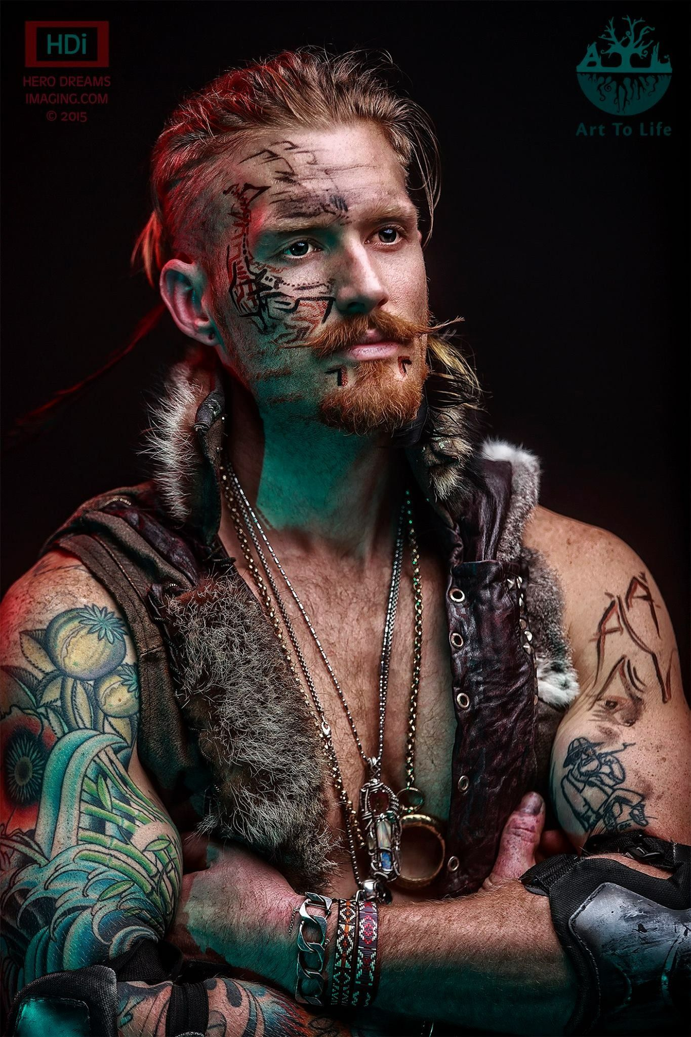 Tribal Warrior In Fur And Leather Vest Clothing Design By
