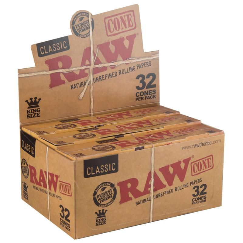 Raw Classic Kingsize Slim Pre Rolled Cones 12 Count Box 32 Pack