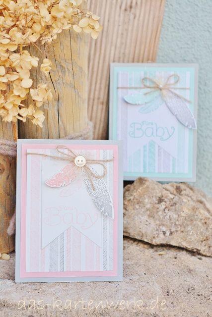 Babykarte; Junge; Mädchen, stampin up; handgefertigt; KartenWerk; rosa; blau; grau; Federn; Four Feathers; Banner; Knöpfe