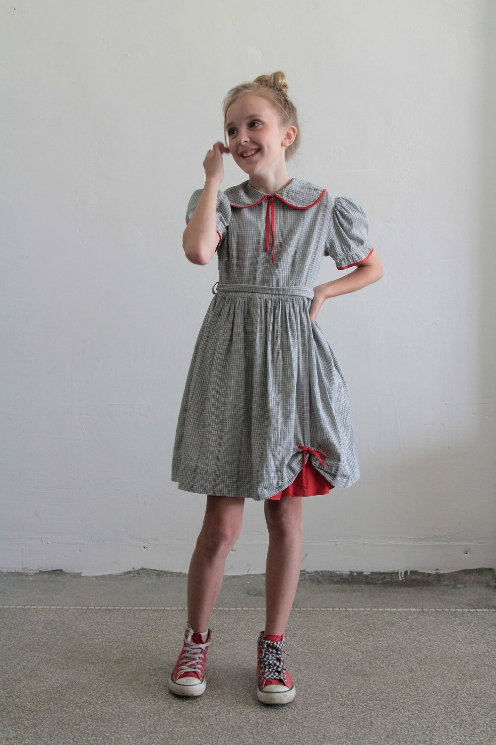 S little girl dress plaid grey and white red trim mid