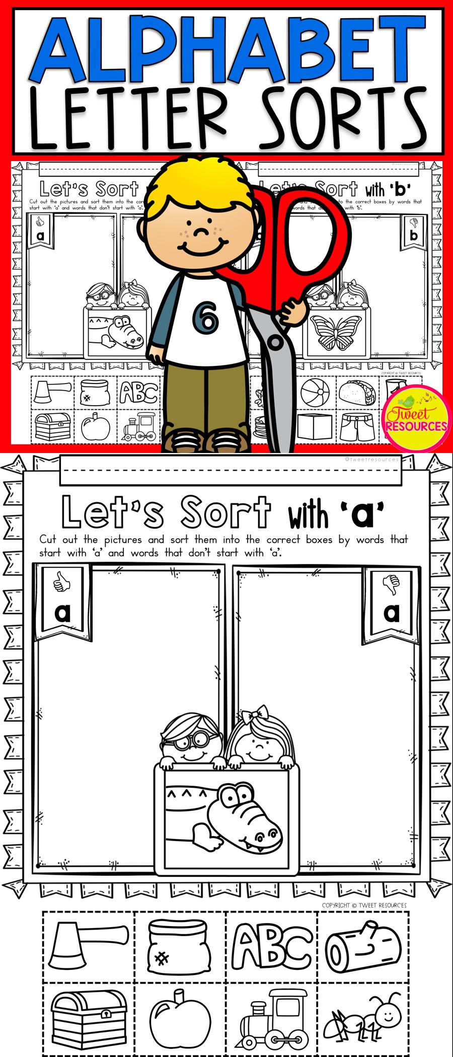 Alphabet Picture Sorts Alphabet pictures, Letter sounds
