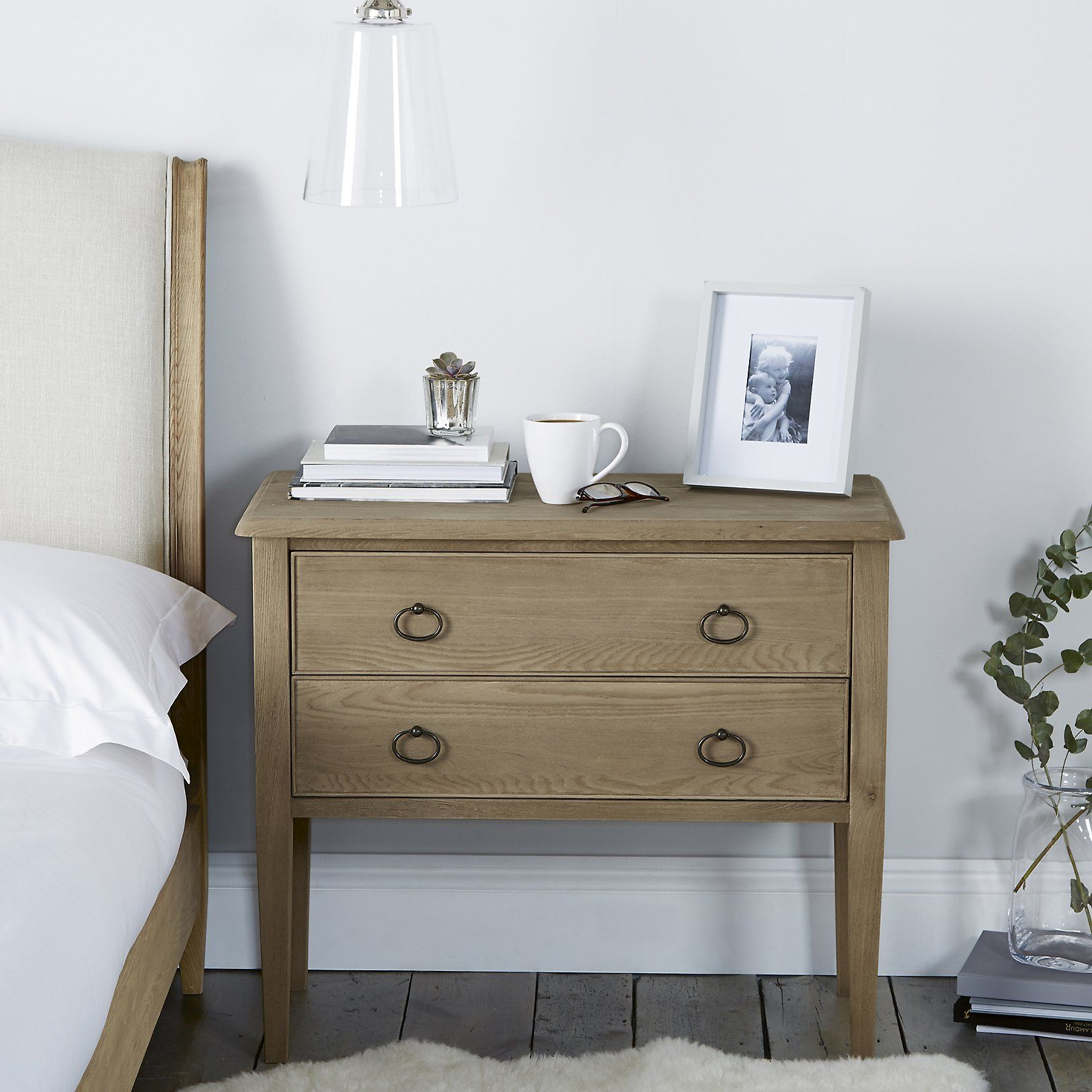 Ardleigh Wide 2 Drawer Bedside Table Bedroom Furniture Home The White
