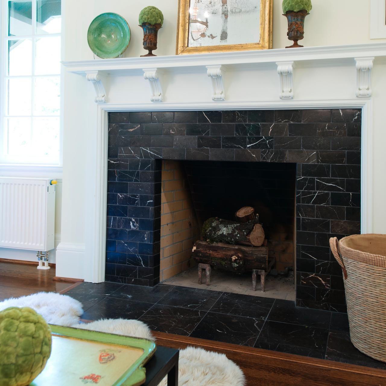 Fireplace Boasts Black Marble Surround White Mantel White