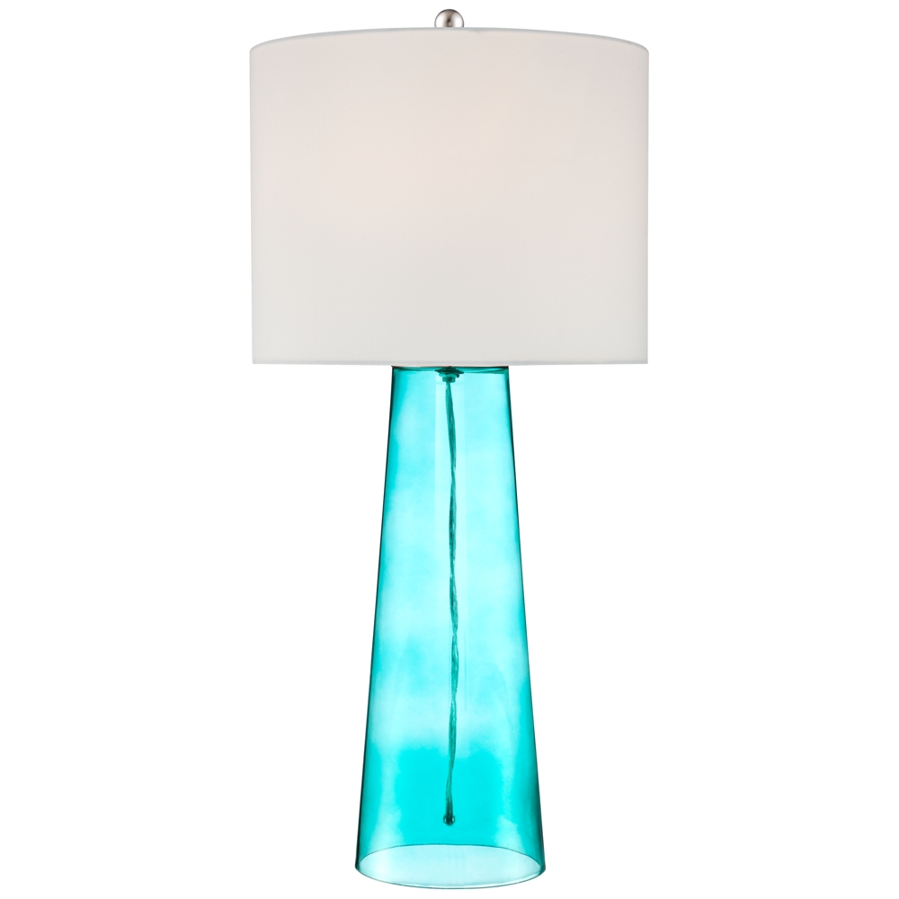 Blue glass table lamps  Marcus Blue Glass Tapered Column Table Lamp  Style  W
