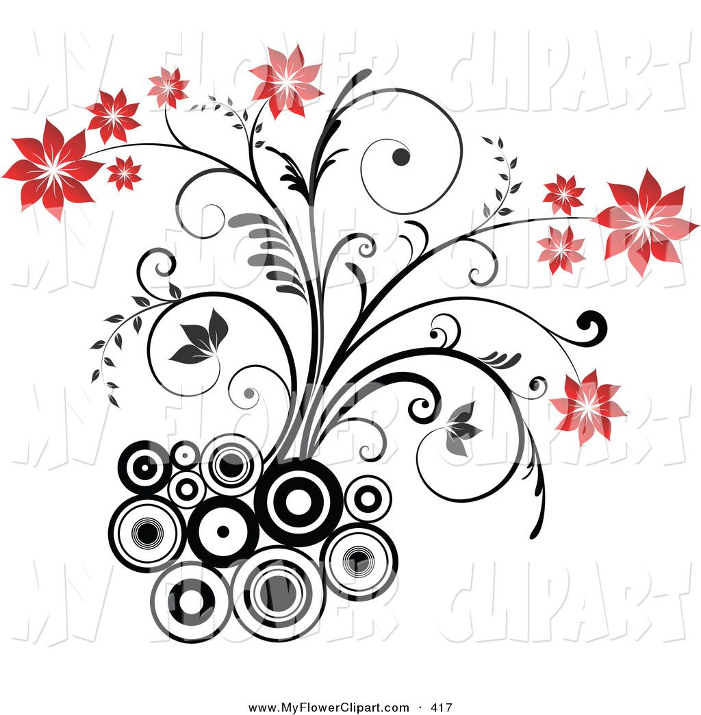 Clip Art Black And White Of Black And White Circles On A White Background By Kj Pargeter 417 Black And White Pictures Plant Drawing Flower Drawing