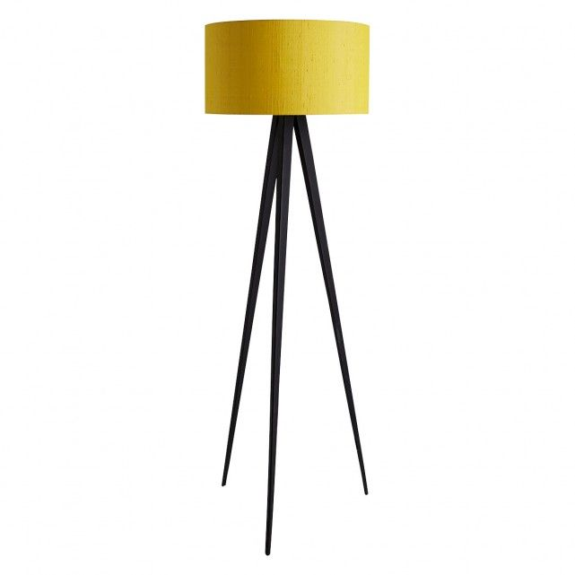 The Yves Black Tripod Floor Lamp Base And Drum Silk Shade Are A Perfect Pairing Br This Have Been Paired Together To Create