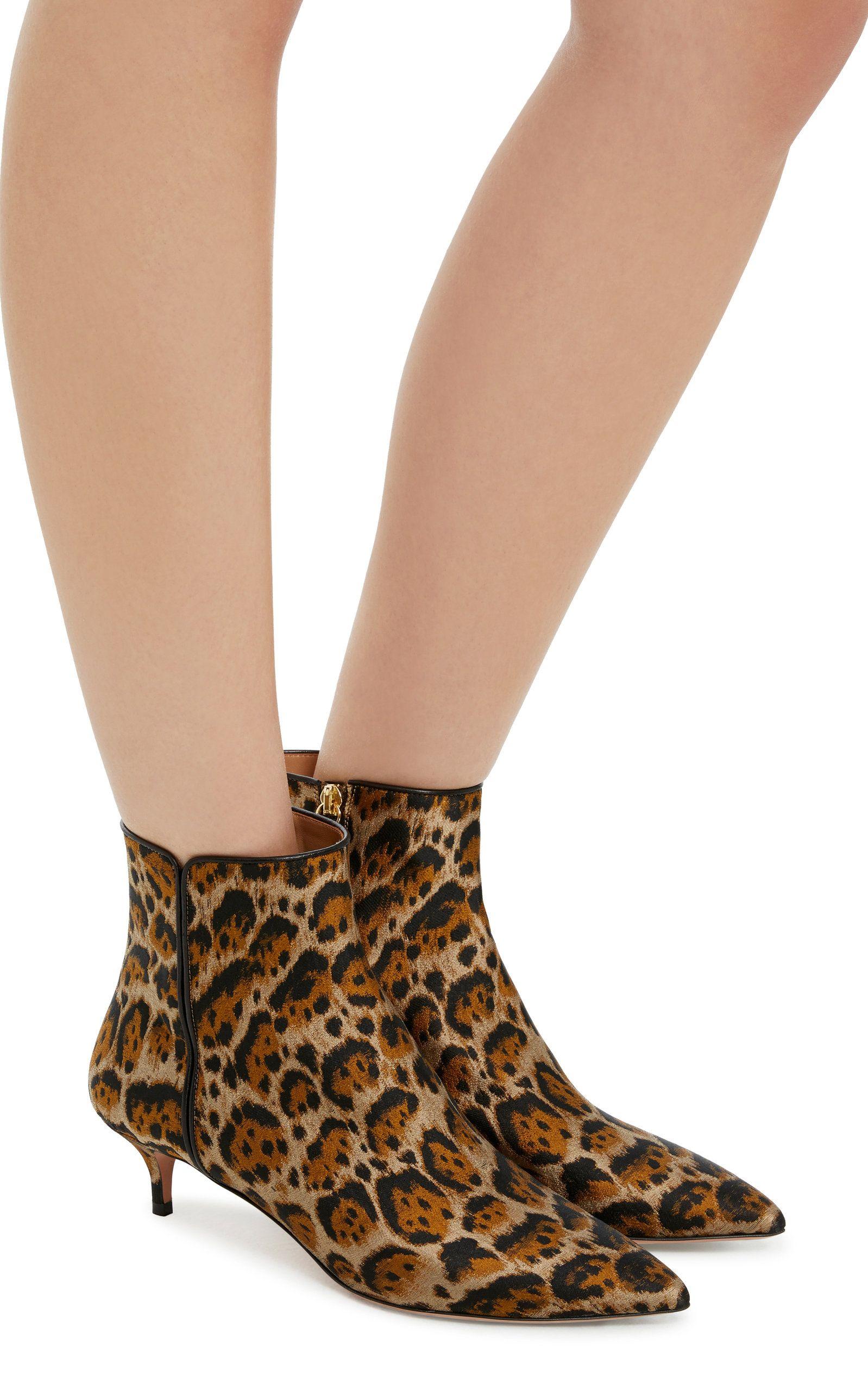 Aquazzura Quant Leopard Jacquard Boots
