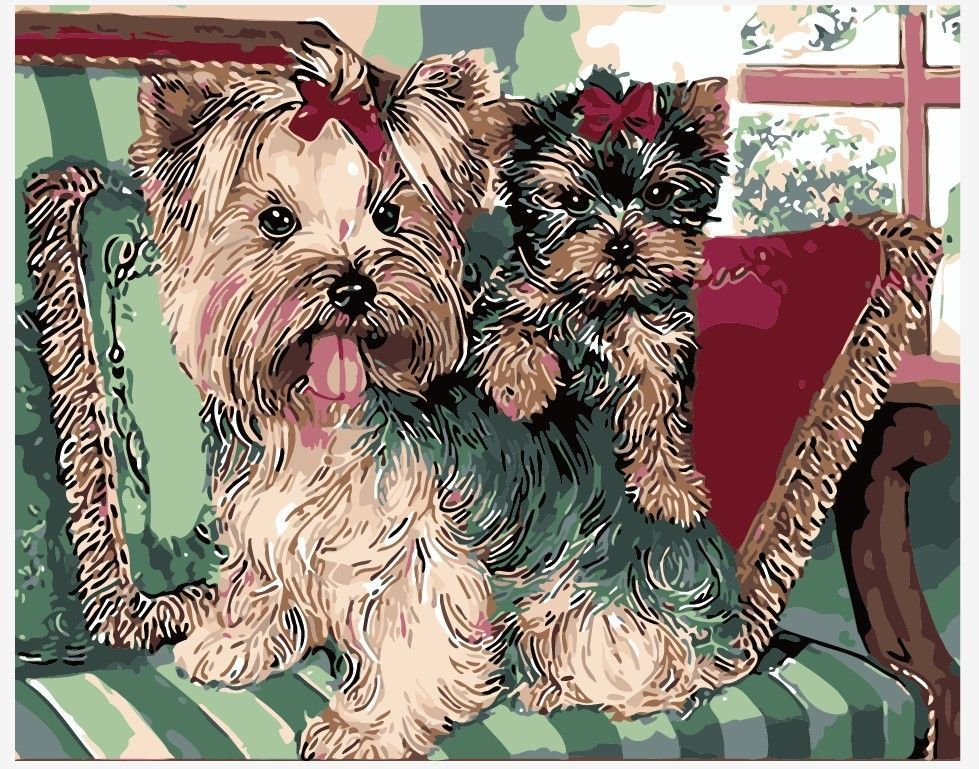 """16x20"""" Schnauzer Dog Pet Paint By Number Oil Painting"""